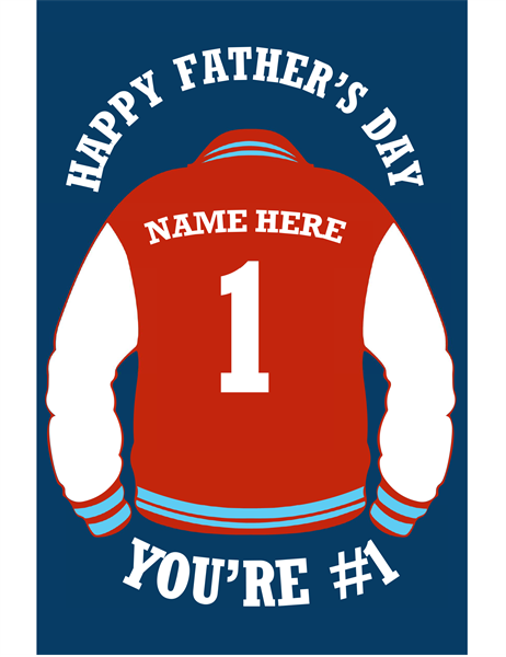 Letter jacket Father's Day card