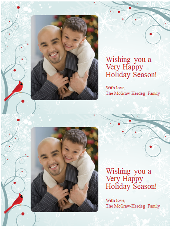 Snowflake holiday photo cards (two per page)