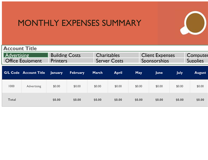 General ledger with monthly expenses