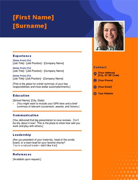 Headshot resume
