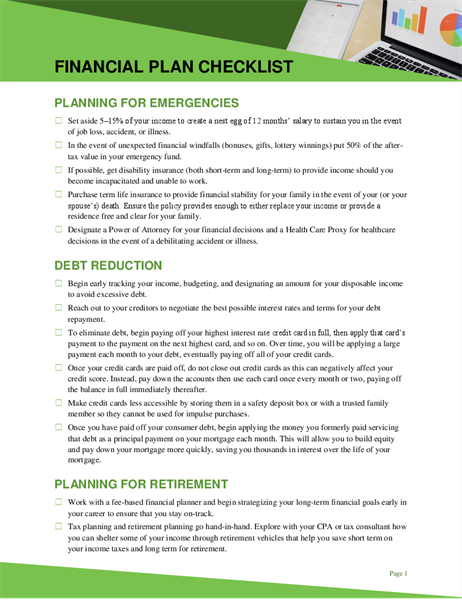 Financial plan checklist