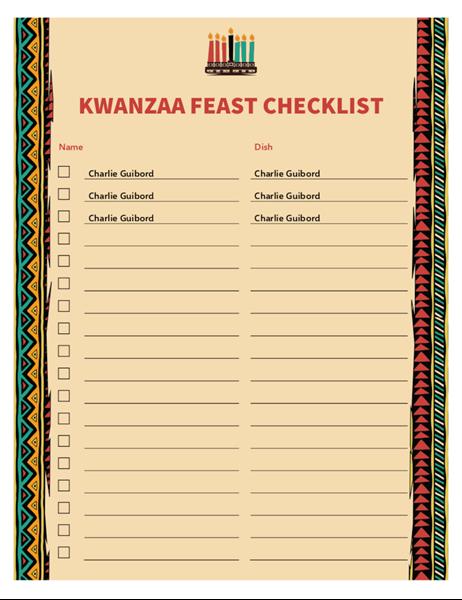 Kwanzaa  checklist