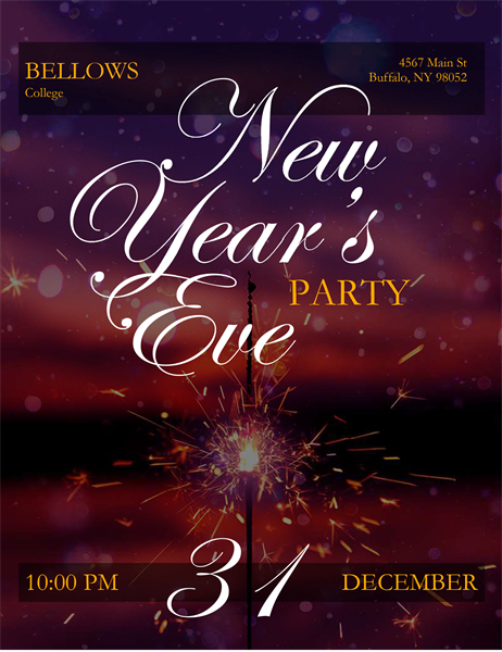 Sparkler New Year's Eve flyer