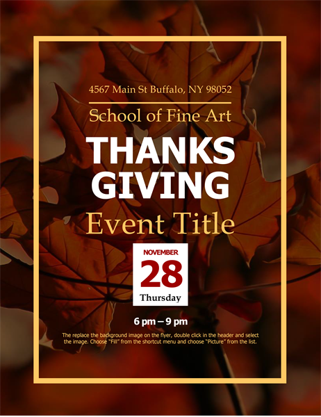 Autumn leaves Thanksgiving flyer