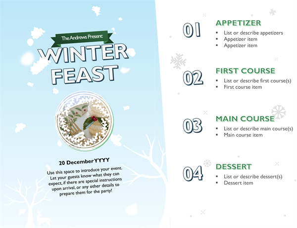 Snowy holiday photo menu