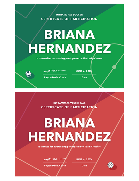 four sports awards certificate - Certificate Templates