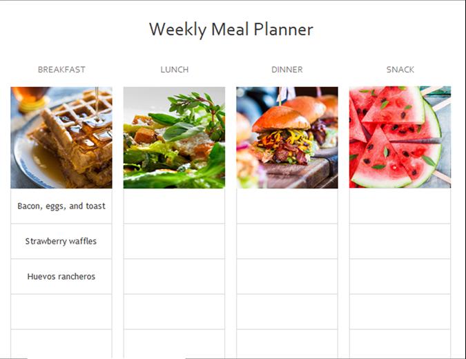 Simple meal planner
