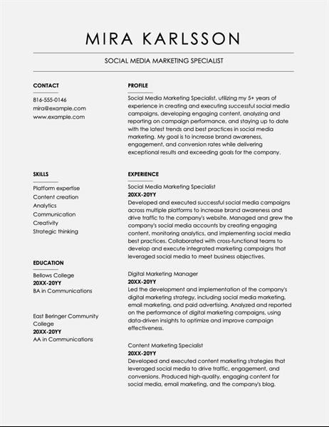 Columns resume