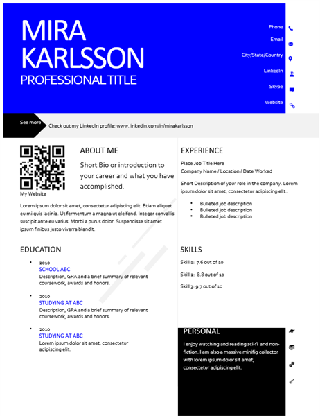 Modern resume with QR code