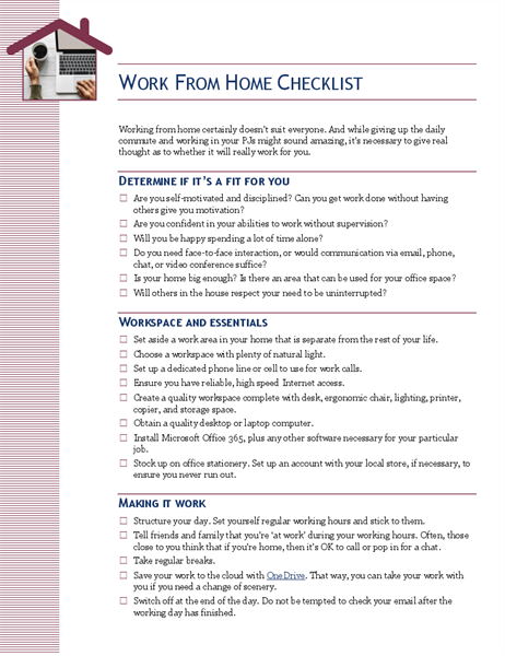 Work from home checklist