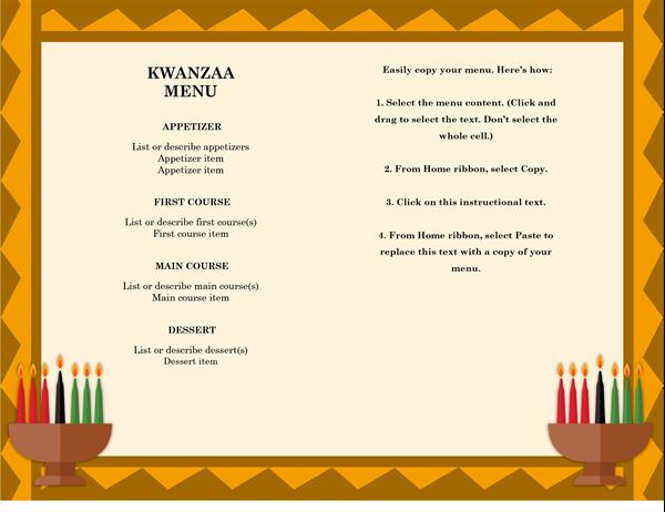 Kwanzaa menu