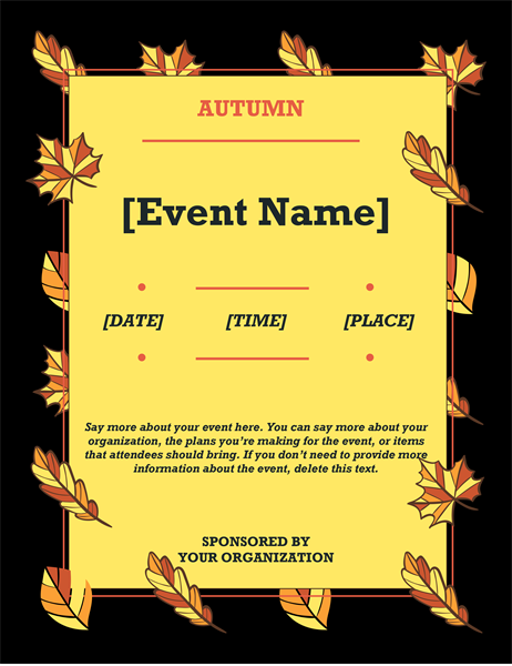 Autumn leaves event flyer
