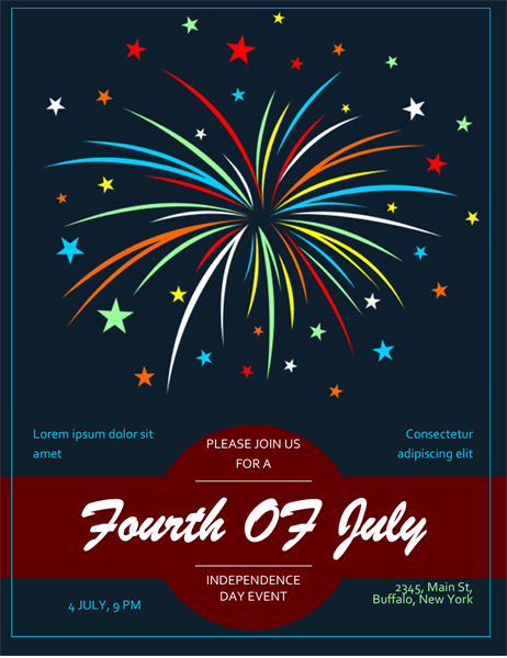 Fireworks Fourth of July flyer