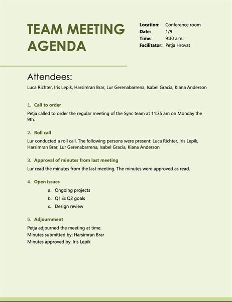 Rose suite agenda