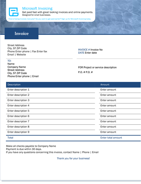 Service invoice with Microsoft Invoicing