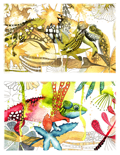 Chameleon greeting cards (half-fold)