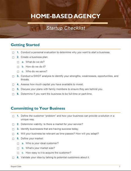 Home business startup checklist