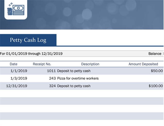 Small business petty cash log