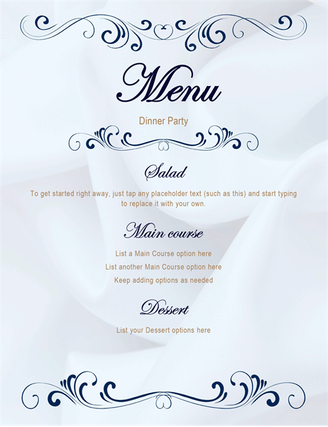 Scroll dinner party menu