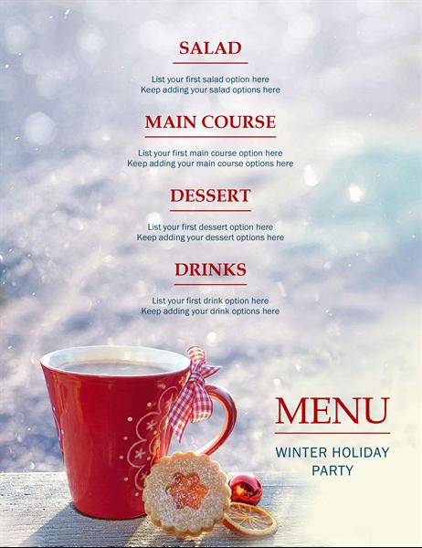 Winter holiday party menu