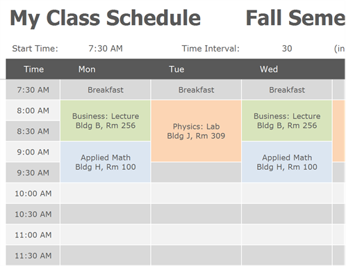 Class Schedule - Availability schedule template
