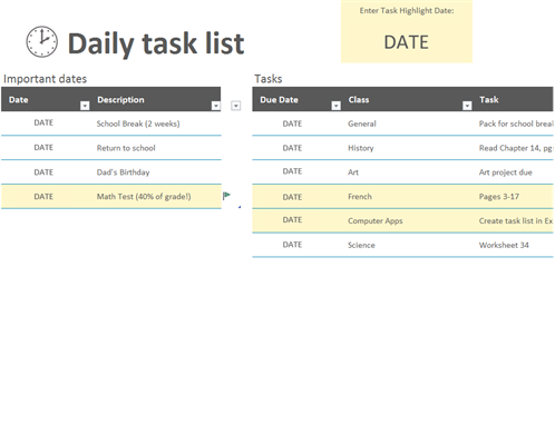 Lists for Template for daily tasks