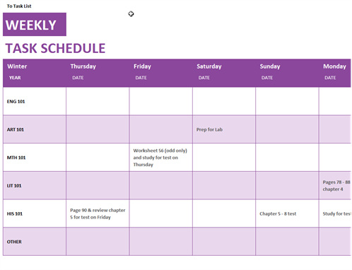 Weekly task schedule for Weekly meeting calendar template