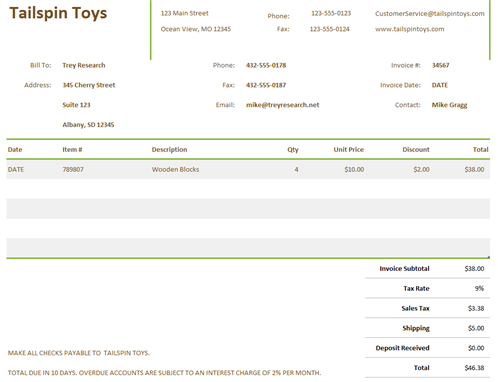 Commercial Invoice  Example Of Simple Invoice