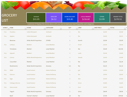 Grocery List  Grocery Checklist Template