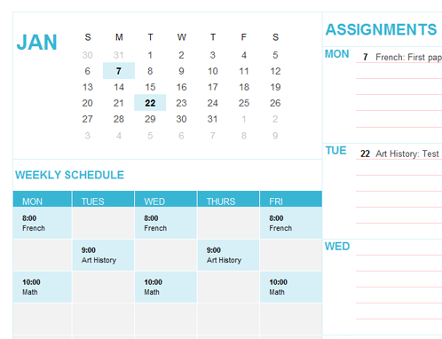 Student Calendar (Sun) - Office Templates