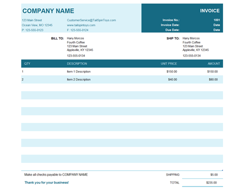 Basic Invoice With Unit Price And Billing Invoice Template Excel