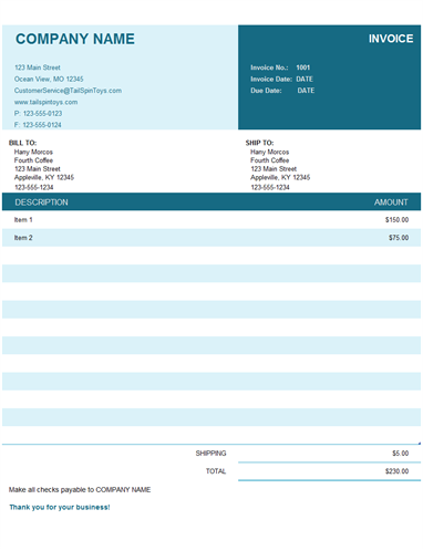 Commercial Invoice Office Templates - International commercial invoice template online grocery store