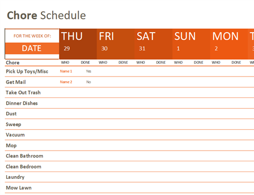 Chore schedule Office Templates – Chore List Template