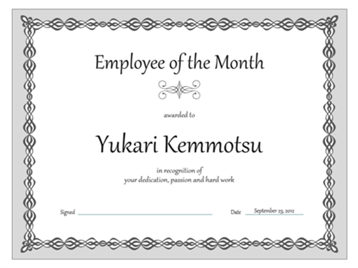 Certificate, Employee Of The Month (gray Chain Design)  Free Gift Certificate Template For Word