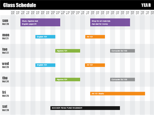 class schedule by time