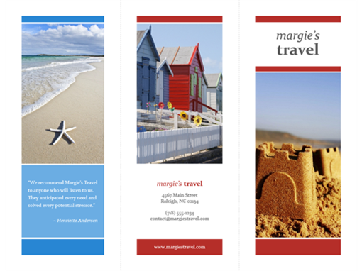 Tri-fold travel brochure (red, gold, blue)