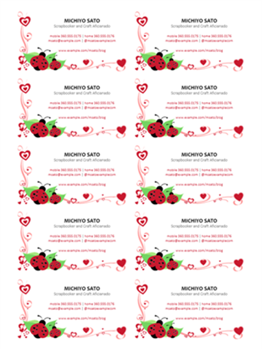 Business cards (ladybugs and hearts, centered, 10 per page)