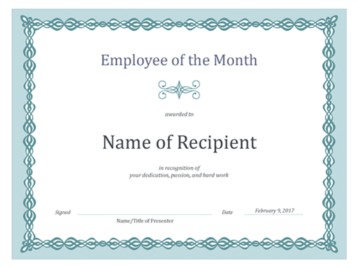 Great Certificate For Employee Of The Month (blue Chain Design) With Gift Certificate Template Word