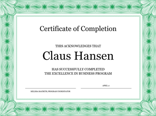 certificate of completion green - Free Certificate Templates For Word Download