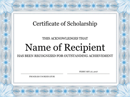 certificate of scholarship formal blue border - Certificate Template Word 2016