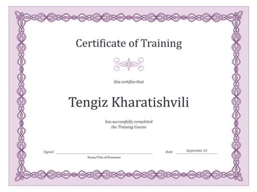 certificate of training purple chain design - Employee Of The Year Certificate Free Template