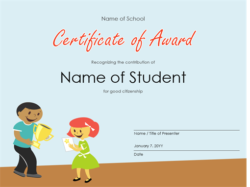 certificate of award elementary students - Certificate Of Achievement Template Free