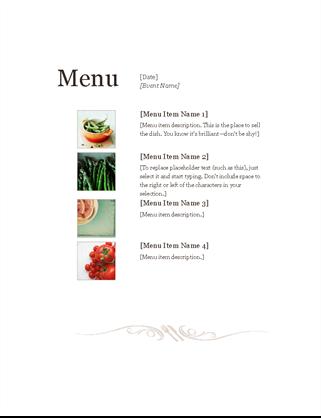 Charming Restaurant Menu Word