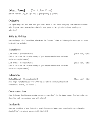 Perfect CV (resume) Word On Word Templates Resume