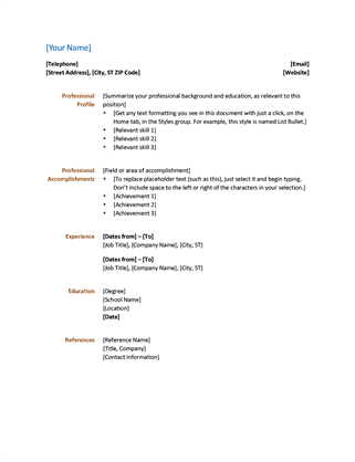 Resume (Functional Design)  Template Of A Resume