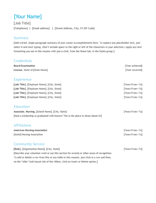 resumes samples in word