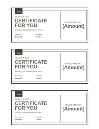 gift certificates - Free Certificate Templates For Word Download
