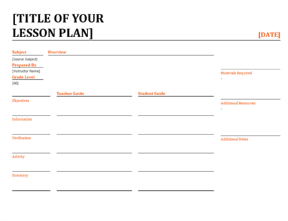 Daily lesson plan (color)
