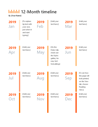 Month Timeline Office Templates - Yearly timeline template excel