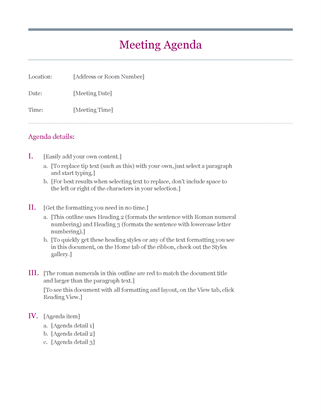 Attractive Classic Meeting Agenda And Agenda For Meeting Template
